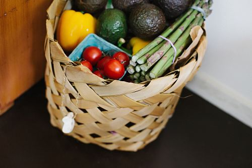 photo bunch of assorted produce in brown wicker basket free for commercial use images