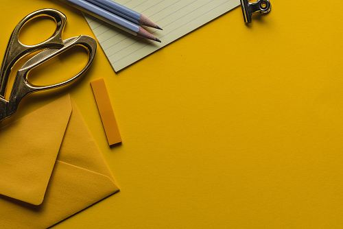 photo gray scissor with envelope and pencils free for commercial use images