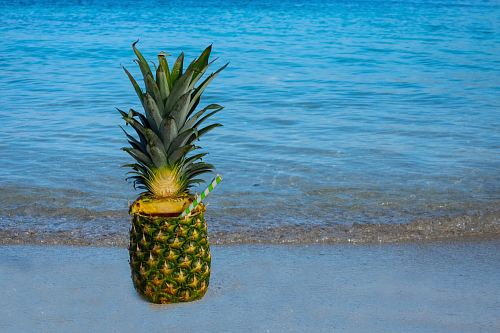 photo green and yellow pineapple fruit juice near seashore free for commercial use images