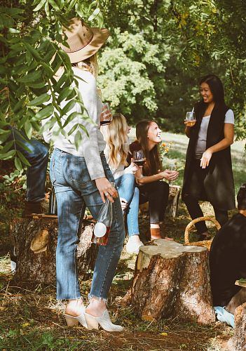 photo group of women in forest drinking free for commercial use images