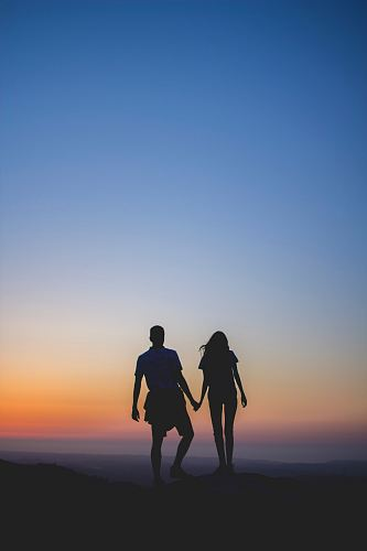 photo man and woman holding hands in silhouette photography free for commercial use images