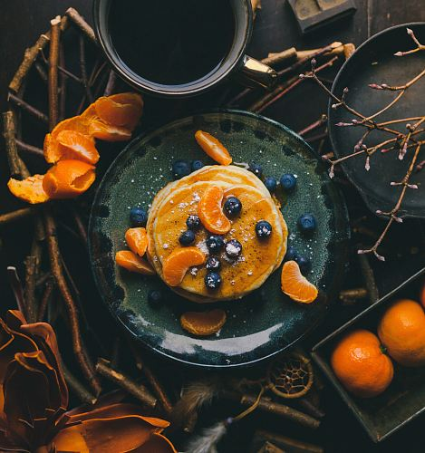 photo pancakes with orange and blueberry on plate free for commercial use images