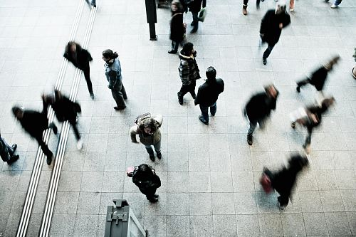 photo people walking on grey concrete floor during daytime free for commercial use images