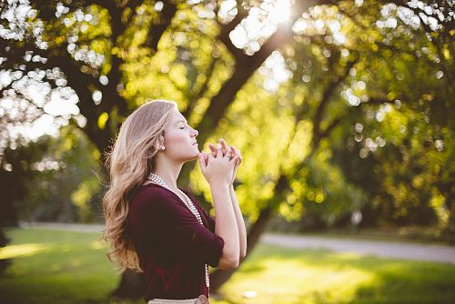woman praying under tree during daytime