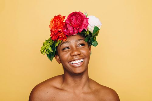 photo woman smiling wearing flower crown free for commercial use images