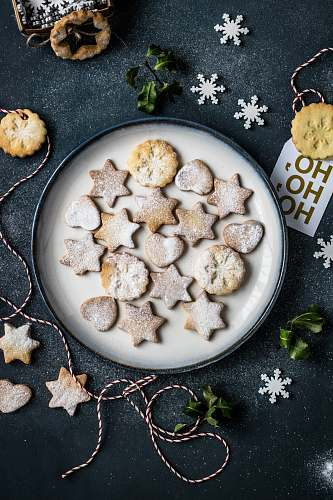 winter butter cookies on plate food