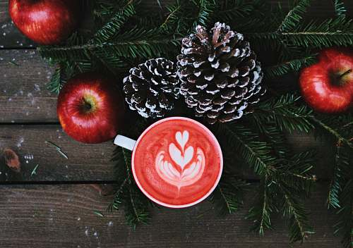 winter red coffee latte on white ceramic mug food