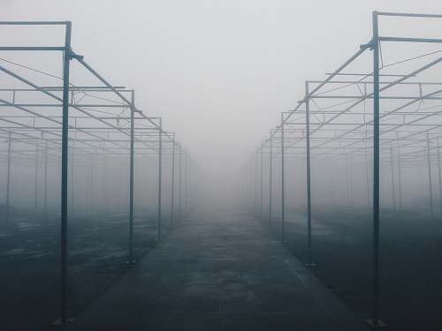 nature architectural photography of foggy metal building frames structure