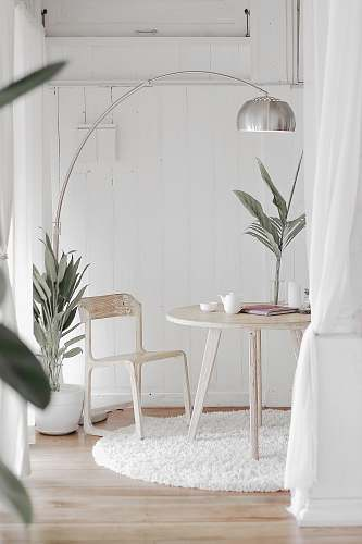 photo furniture white steel chair in front round table on white rug home free for commercial use images