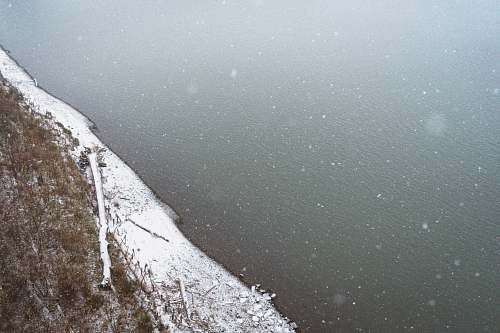 water aerial view photography of ocean beside snow-covered shore shore