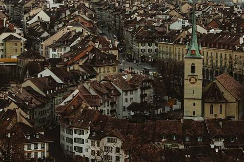 switzerland aerial photography of brown townhouse buildings