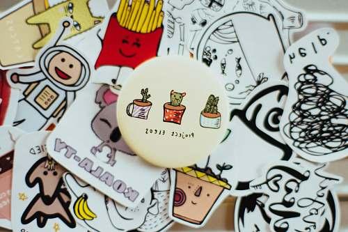 drawing closeup photo of sticker lot art
