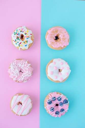 pink six assorted-flavor doughnuts donut