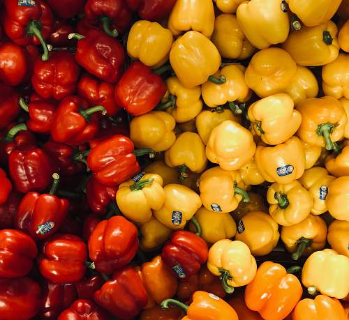 pepper yellow and red bell peppers vegetable