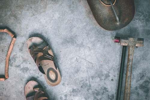clothing pair of gray sandals aerial photo footwear