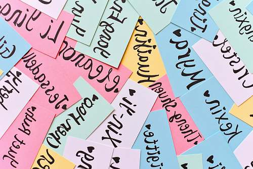 calligraphy assorted-color of name cards text