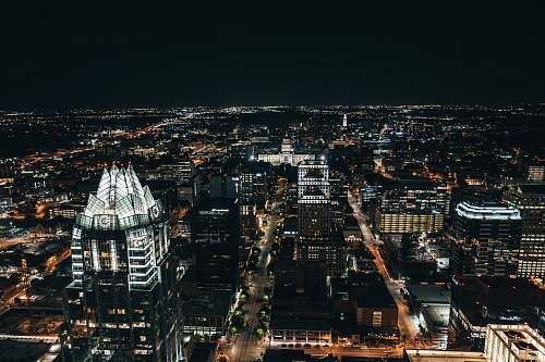 landscape aerial photography of buildings during night nature
