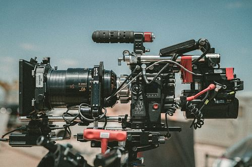 photo black and red movie camera free for commercial use images