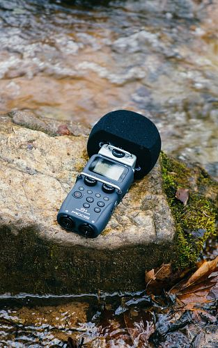free for commercial use black digital wireless microphone on mossy rock images