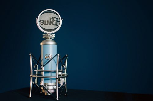 photo blue and gray Blue condenser microphone free for commercial use images