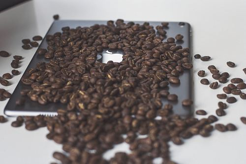 coffee beans on iPad