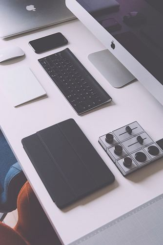 photo flat lay photography of black iPad case, Apple wireless keyboard, iMac on white table free for commercial use images