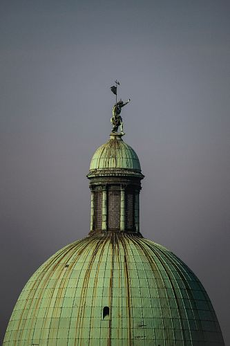 green dome with finial