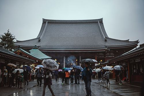 photography of people walking in front of temple