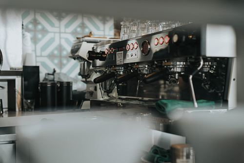 photo shallow focus photography of gray espresso machine free for commercial use images