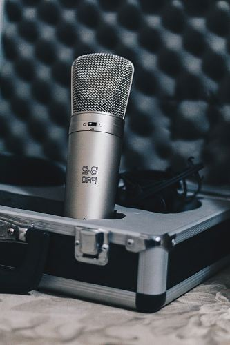 photo silver condenser microphone free for commercial use images