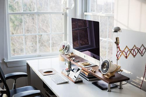 photo silver iMac on desk near window free for commercial use images