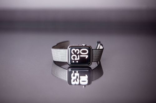 photo silver titanium Apple Watch with gray nylon strap free for commercial use images
