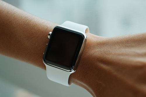 turned-off silver aluminum Apple Watch with Sport Band