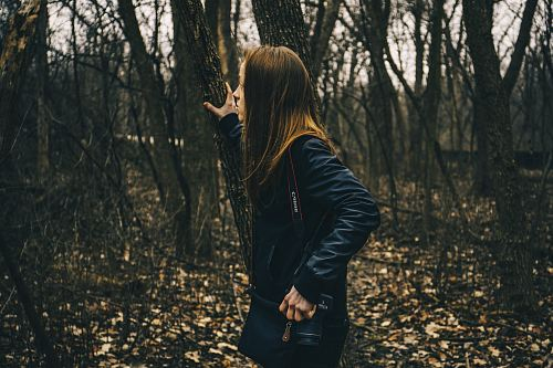 photo woman in forest holding tree free for commercial use images