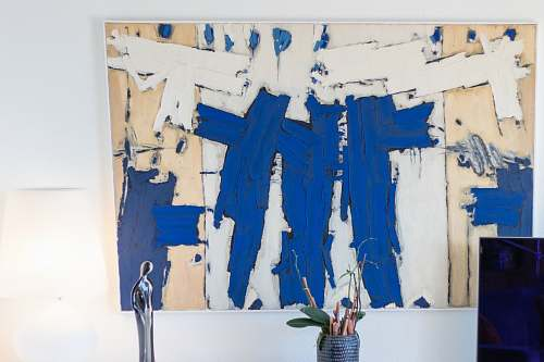 painting blue and white abstract painting canvas