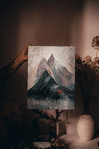 modern art mountain painting canvas