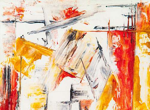 painting white, yellow, and red abstract painting modern art