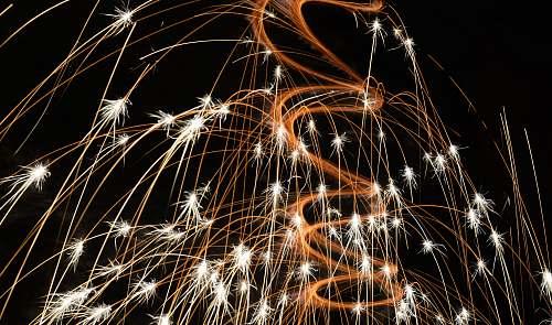 night closeup photo of fireworks long exposure