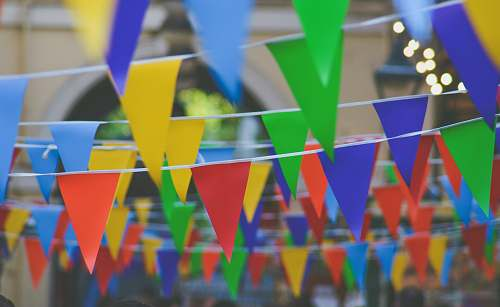 party assorted-color pennants bunting