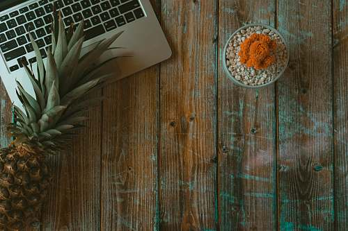 pineapple brown pineapple beside MacBook produce