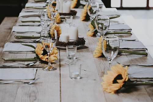 table long-stemmed wine glass on table furniture