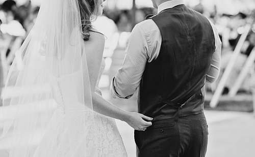 photo wedding grayscale photography of bride and groom black-and-white free for commercial use images