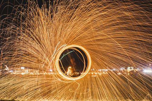 light steel wool photography of fireworks nature