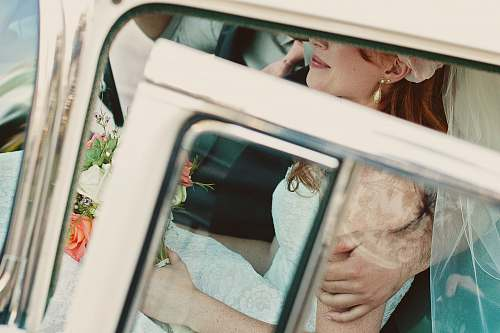 wedding bride in white vehicle love