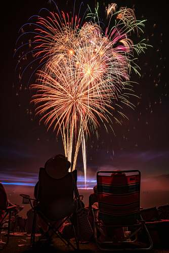 fireworks two people watching fireworks display night