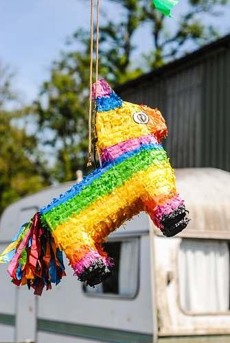 toy multicolored donkey pinata jar