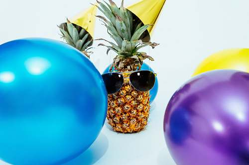 fruit photo of pineapple fruit with sunglasses party
