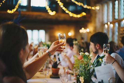human people raising wine glass in selective focus photography people