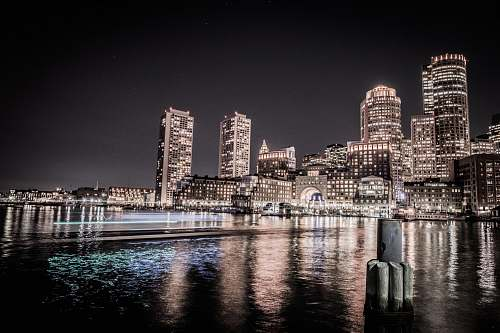 boston city buildings during nighttime urban