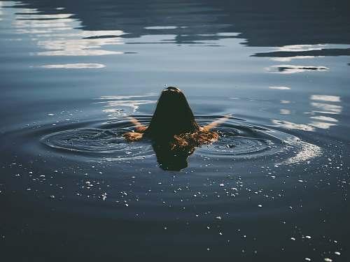water woman swim in water ripple